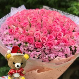christmas flower 99 pink roses