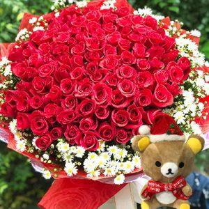 christmas flower 99 red roses