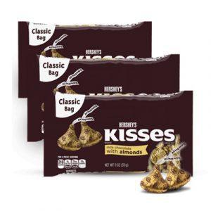 kisses milk chocolate almonds 03 bags