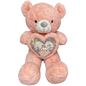 pinkish-orang-teddy-bear-heart