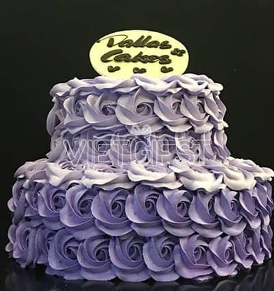 stacked rose dallas cake