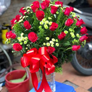 24 red roses daisy