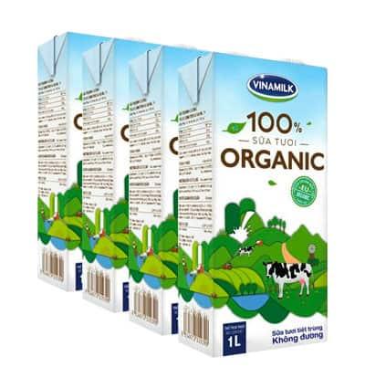4 packs vinamilk 100 organic milk