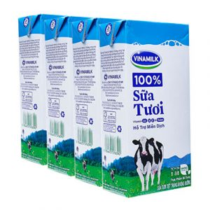 4 packs vinamilk fresh milk non sweetened