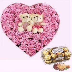 chocolate waxed roses bears 1